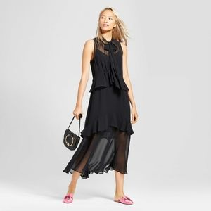 Who what wear black sheer tiered ruffle midi dress